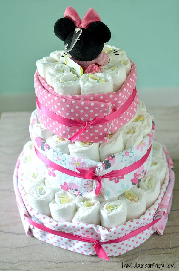 Minnie Mouse Diaper Cake Tutorial