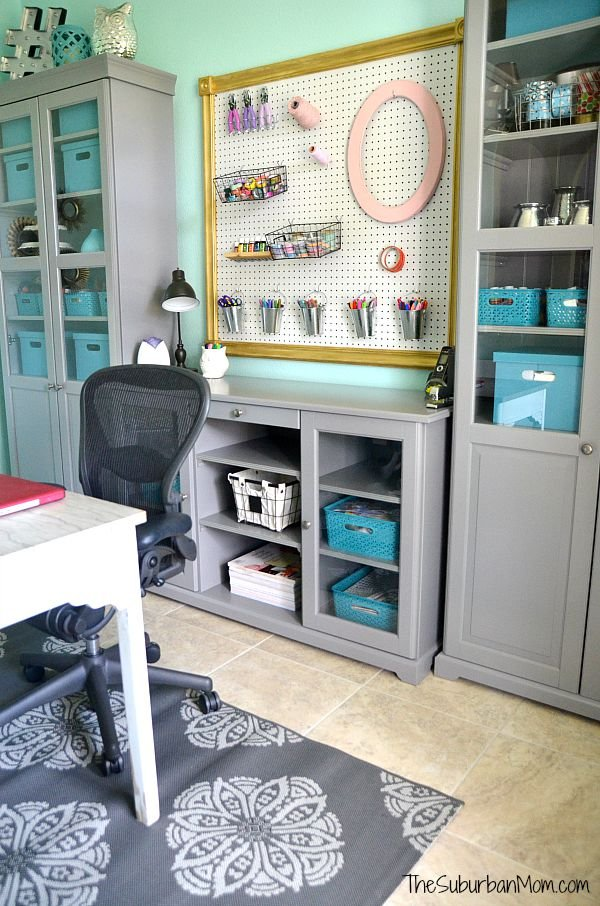 Aqua and Grey Home Office