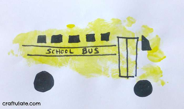 School Bus Foot Print Craft