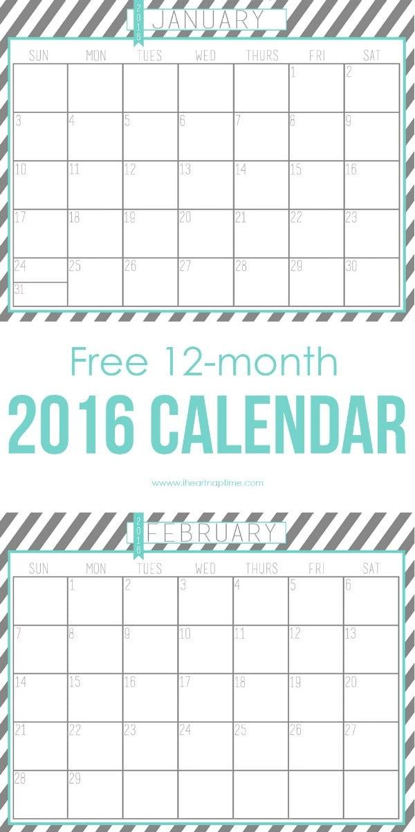2016 Calendar Printable