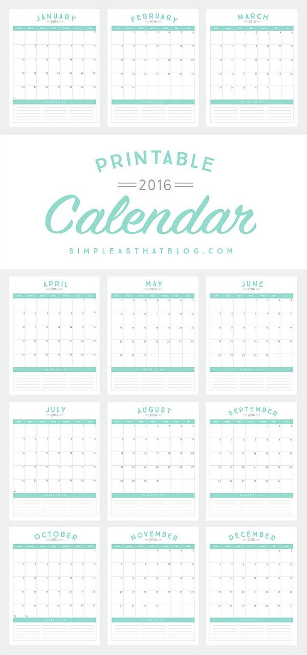 2016 Calendar To Do List