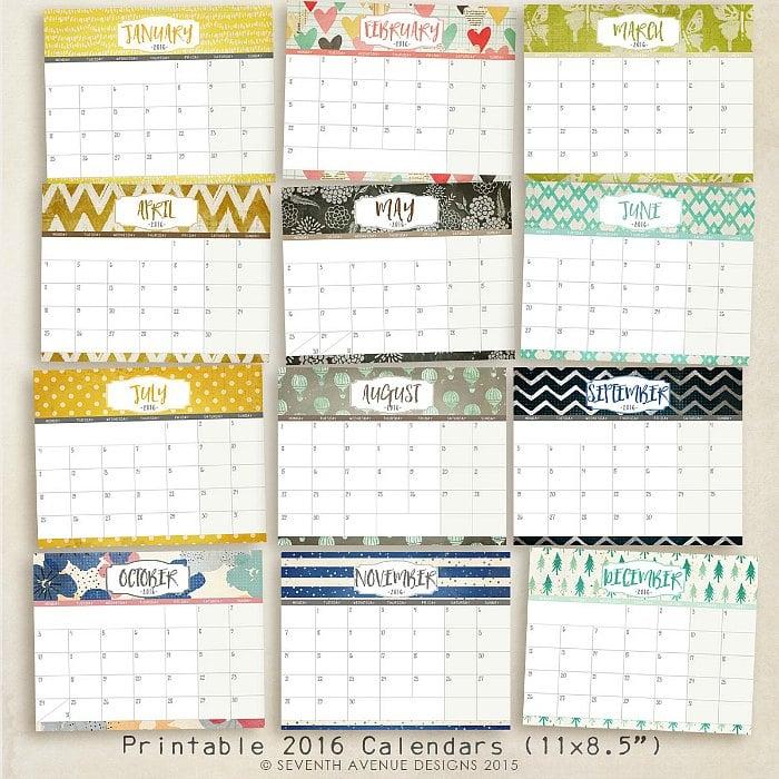 ... Monday, 7th Avenue Design has very pretty 2016 write-in calendars