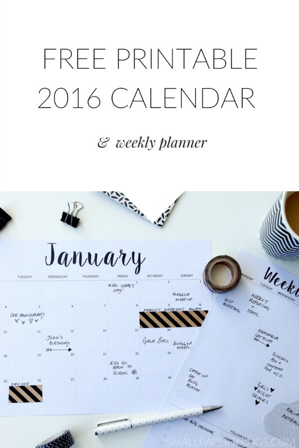 ... from Small Paper Things includes a weekly planner printable too