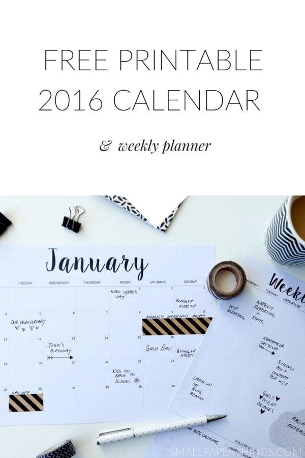 2016 Printable Calendar Weekly Planner