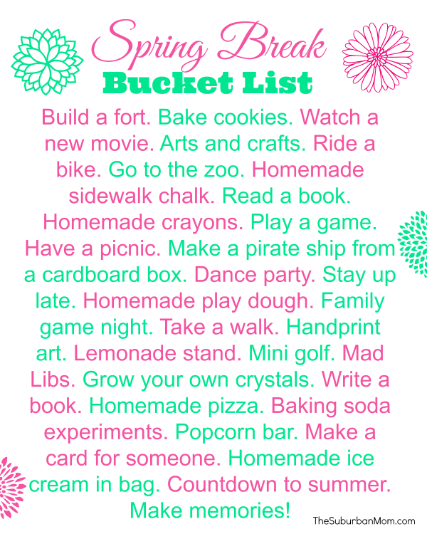 Spring Break Bucket List Free Printable