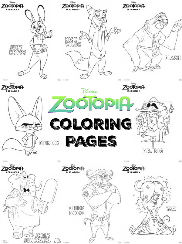 creating 1 000 creatures for zootopia zootopia coloring pages thesuburbanmom. Black Bedroom Furniture Sets. Home Design Ideas