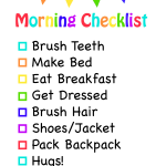 Morning Checklist For Kids Free Printable
