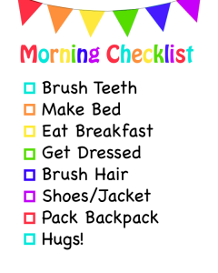 Morning Checklist For Kids
