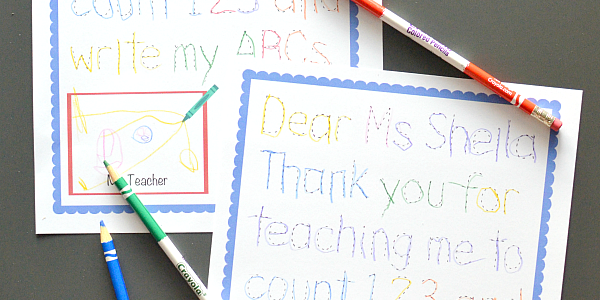Traceable Preschool Teacher Thank You Note