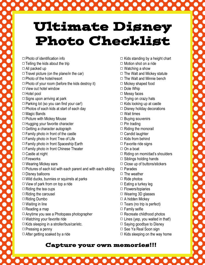 Ultimate Disney Photo Checklist