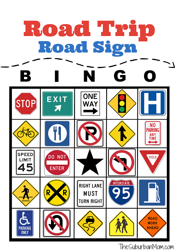Road Trip Road Sign Bingo Free Printable