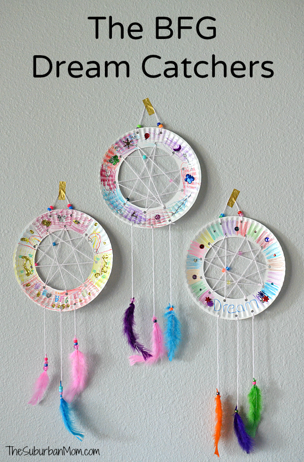 The bfg paper plate dream catchers kids craft the suburban mom for Art and craft books for kids