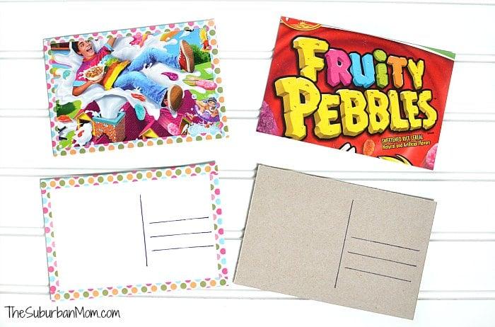DIY Cereal Box Postcards