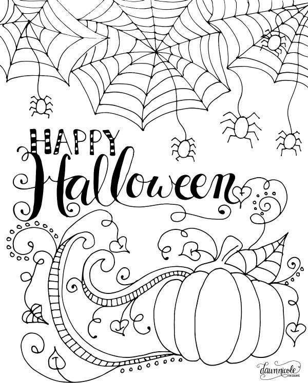 200 free halloween coloring pages for kids the suburban mom for Happy halloween coloring pages printable
