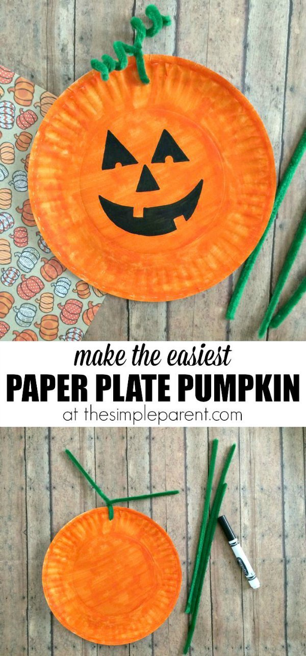 Easiest Paper Plate Pumpkin Craft