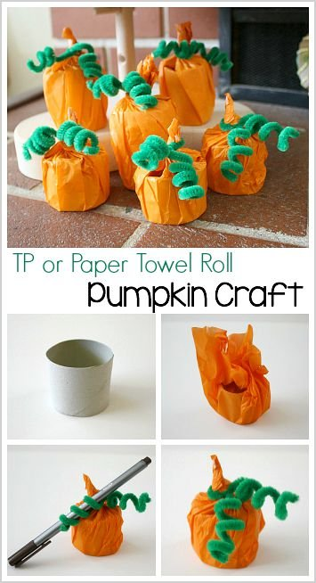Paper Towel Roll Pumpkins