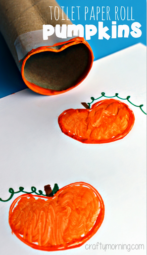 Toilet Paper Roll Pumpkin Stamp Halloween Craft