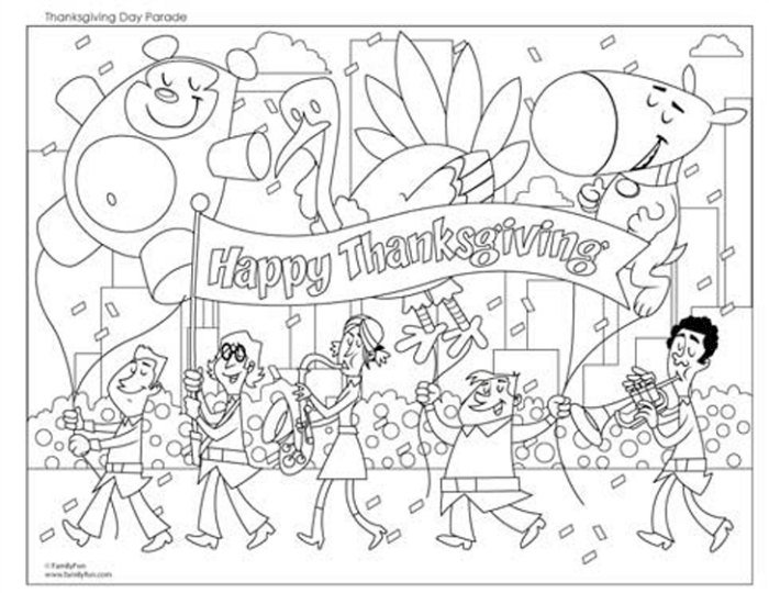 Happy thanksgiving parade coloring page