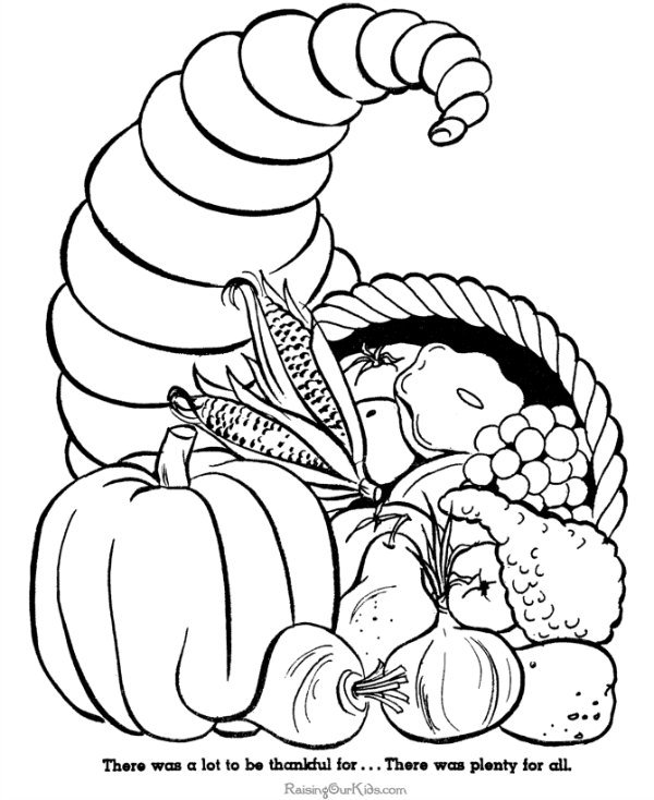 turkey and cornucopia coloring pages | 130+ Thanksgiving Coloring Pages For Kids - The Suburban Mom