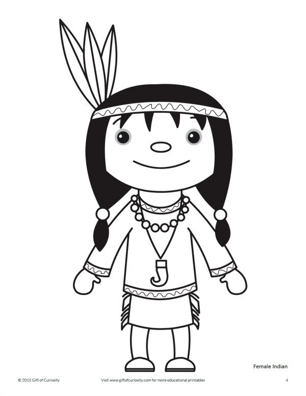 Thanksgiving Indian Coloring Page