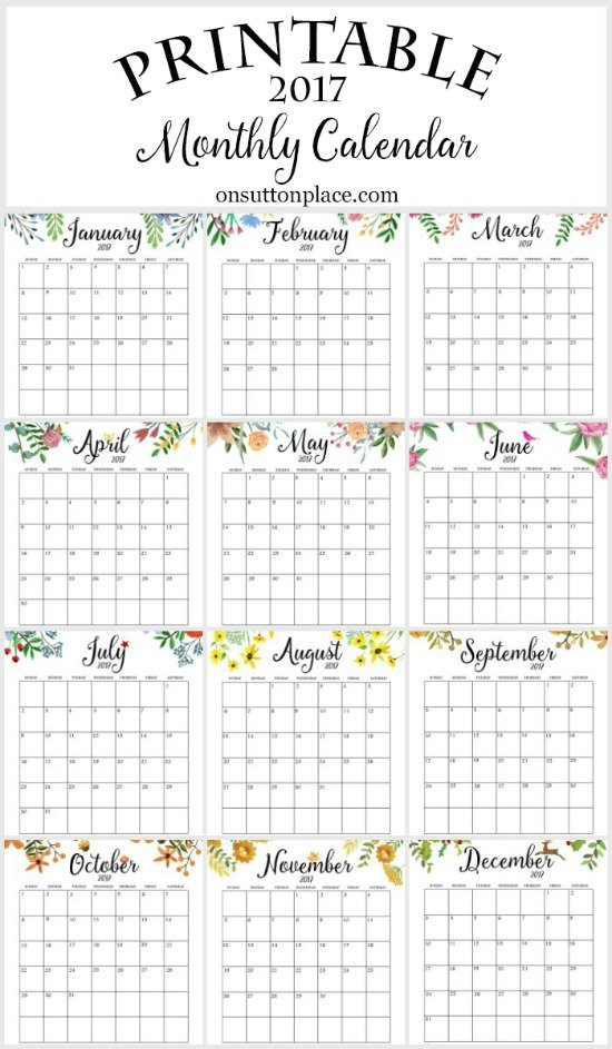 2017 Printable Calendar Monthly