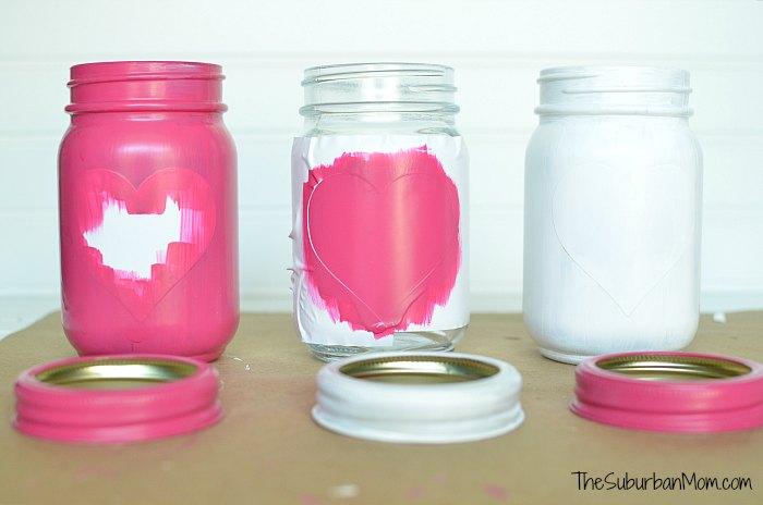 Paint Hearts Mason Jars