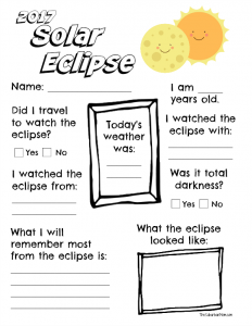 Printable Solar Eclipse Worksheet