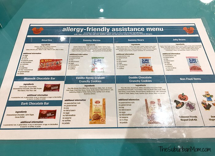 Disney Allergy Friendly Treats Menu