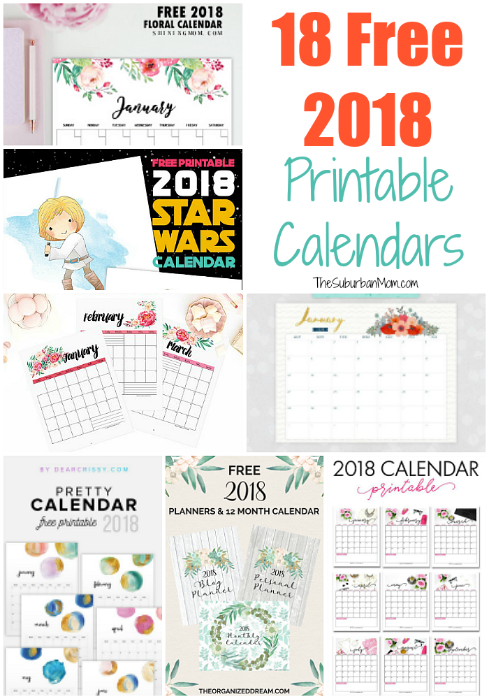 free 2018 calendar printable for download the suburban mom