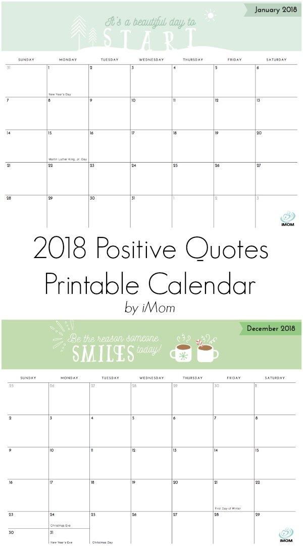 2018 Positive Quotes Calendar