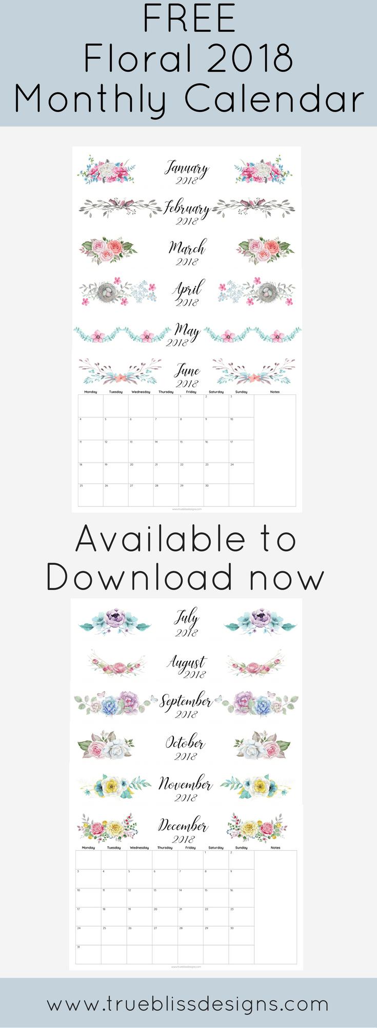 Free 2018 Calendar Printable For Download The Suburban Mom