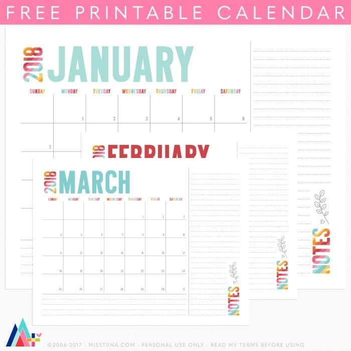 MissTiina-Colorful-2018-Calendar