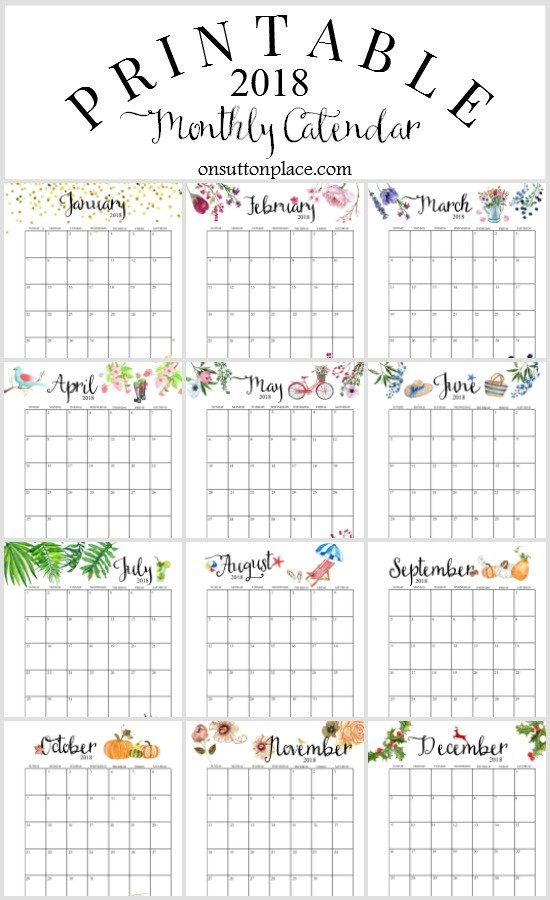Free 2018 Calendar Printable For Download - The Suburban Mom