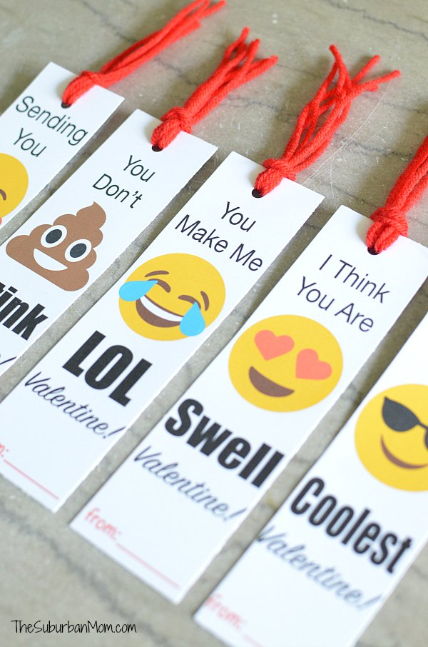 Emoji Valentines Day Bookmarks