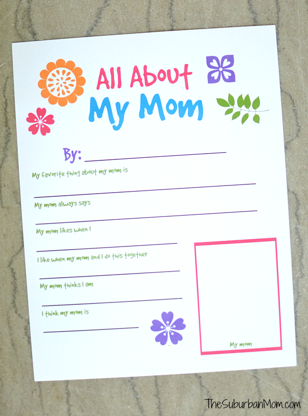 Attractive All About My Mom Printable