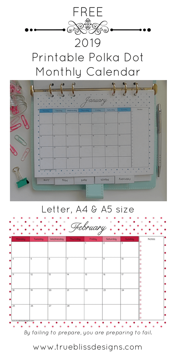 2019 Polka Dot Printable Monthly Calendar Planner