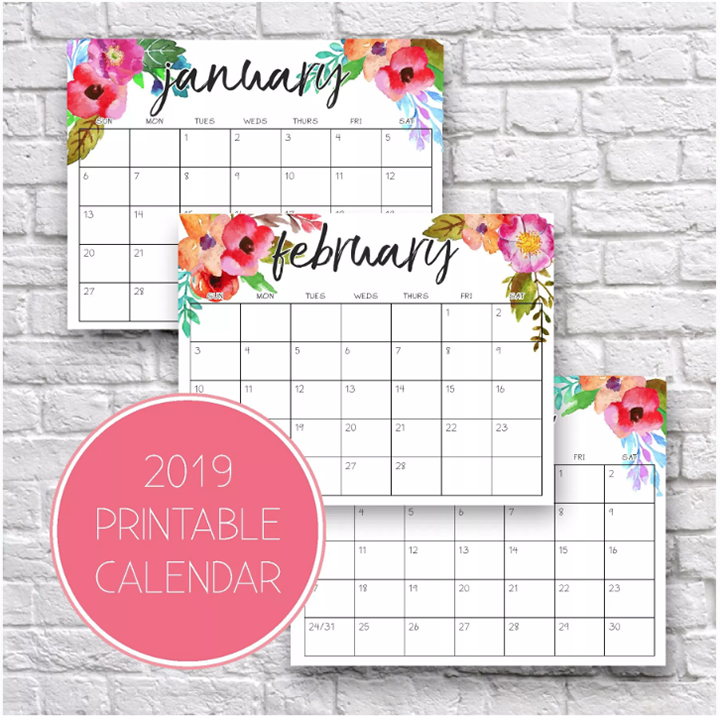 2019 Printable Monthly Calendars