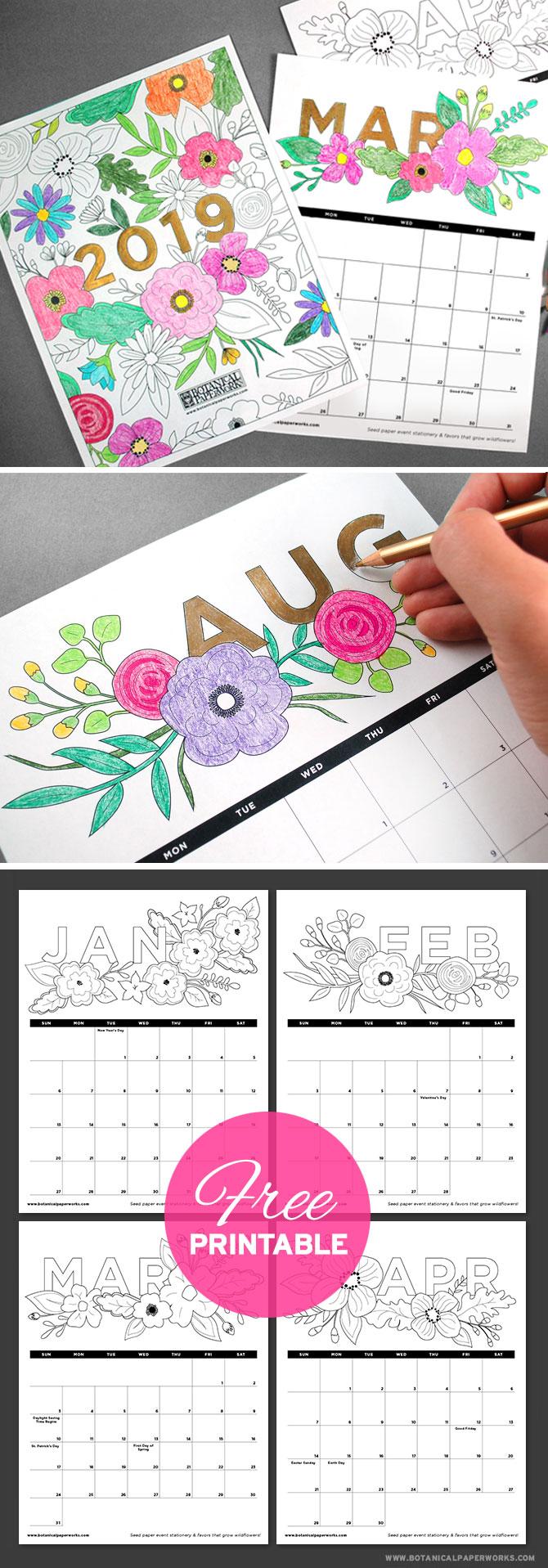 Free-Printable-Calendar-2019-Coloring.Page
