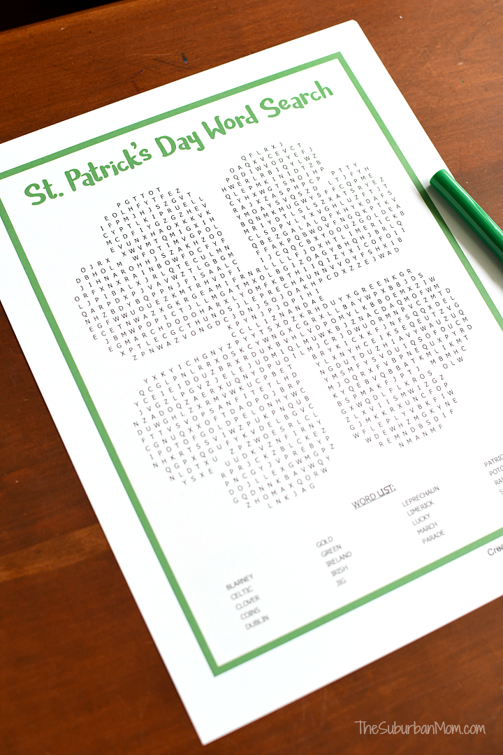 Saint Patrick's Day Word Search Puzzle