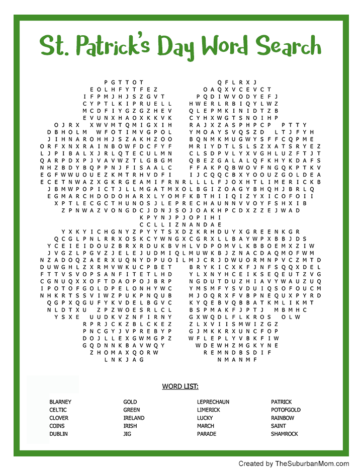 St Patrick's Day Word Search Printable