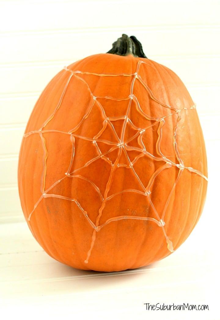 Hot Glue Spider Web Pumpkin