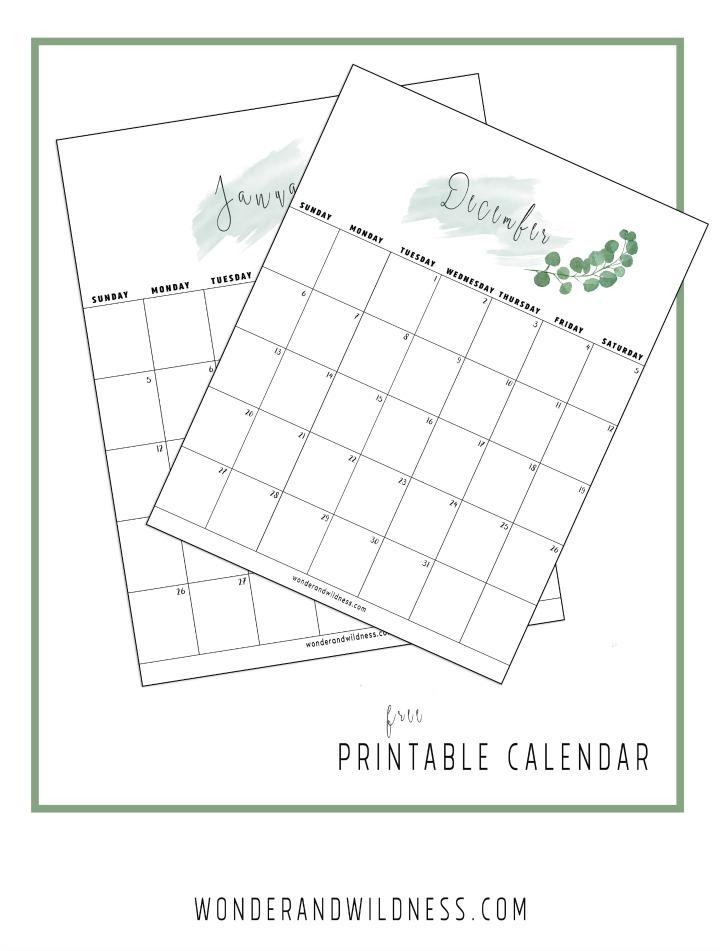 2020 Printable Calendar Green
