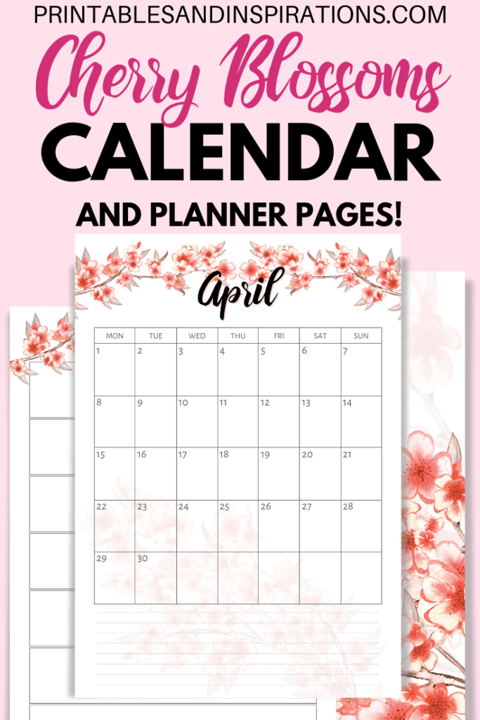 Cherry Blossoms Calendar Printable