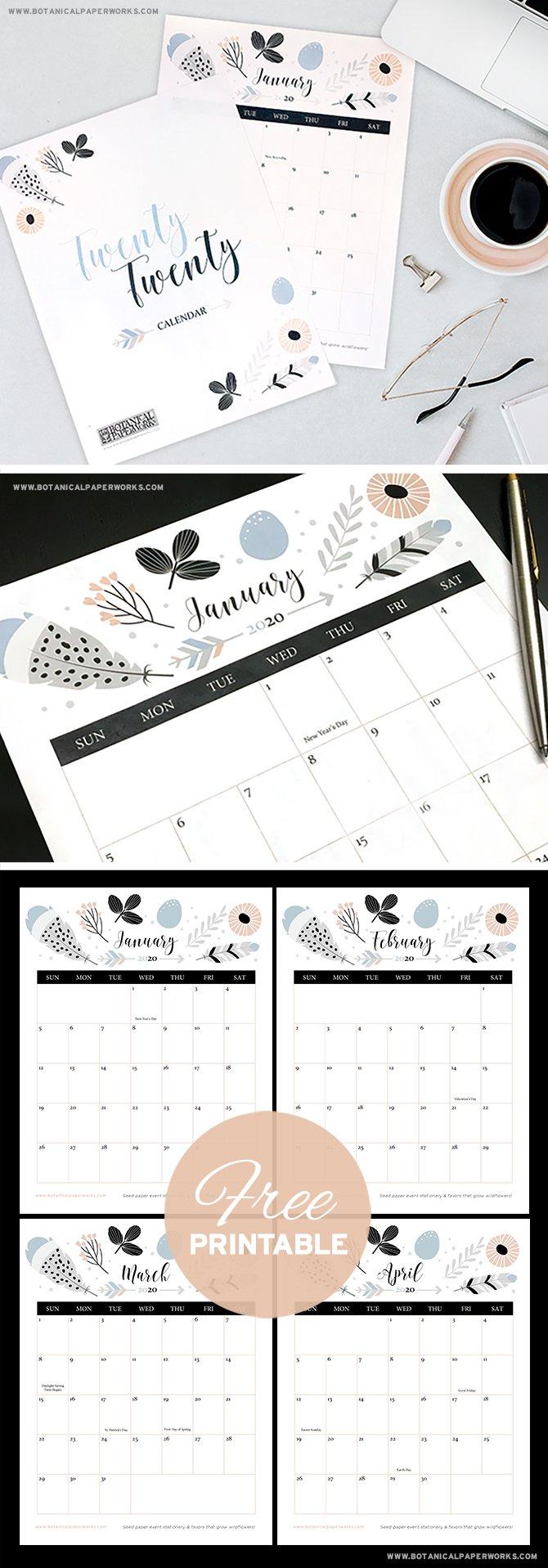 Free Printable Calendar 2020 Boho Chic