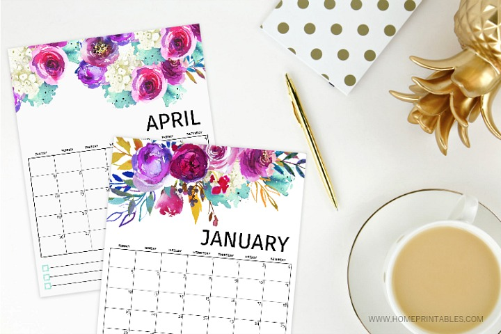 Watercolor 2020 Free Printable Calendar
