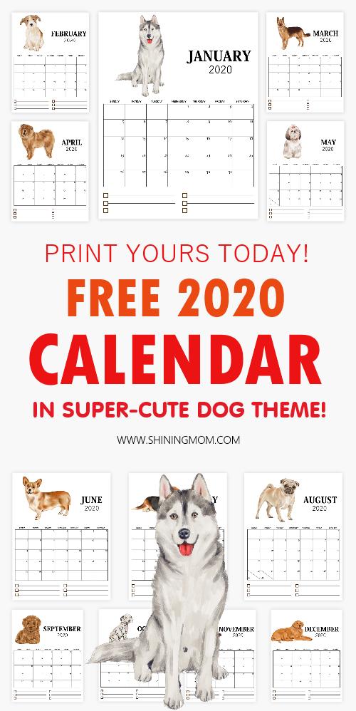 Dog 2020 Calendar Free Printable
