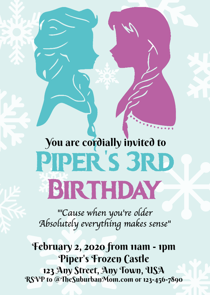 Anna Elsa Frozen Birthday Invitation