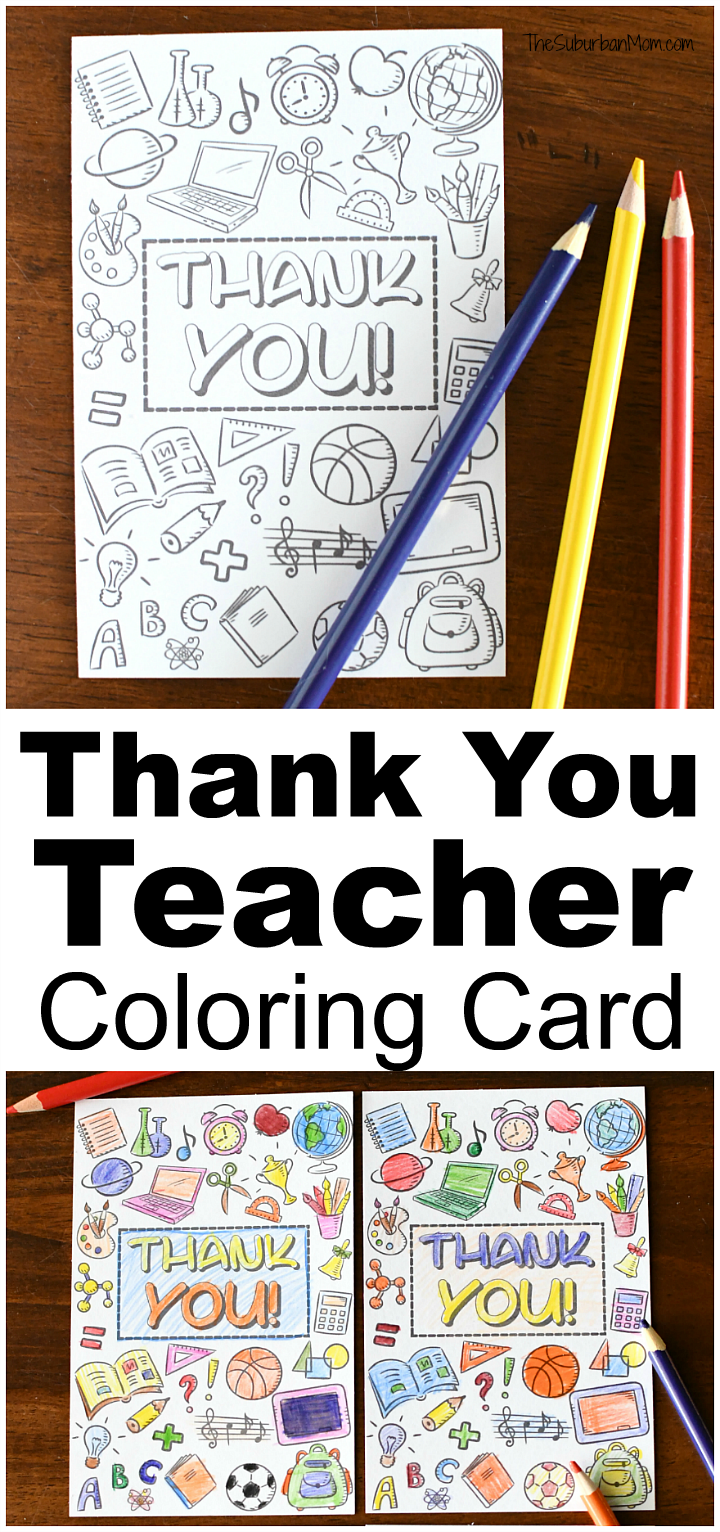 Teacher Appreciation Coloring Page Thank You Card