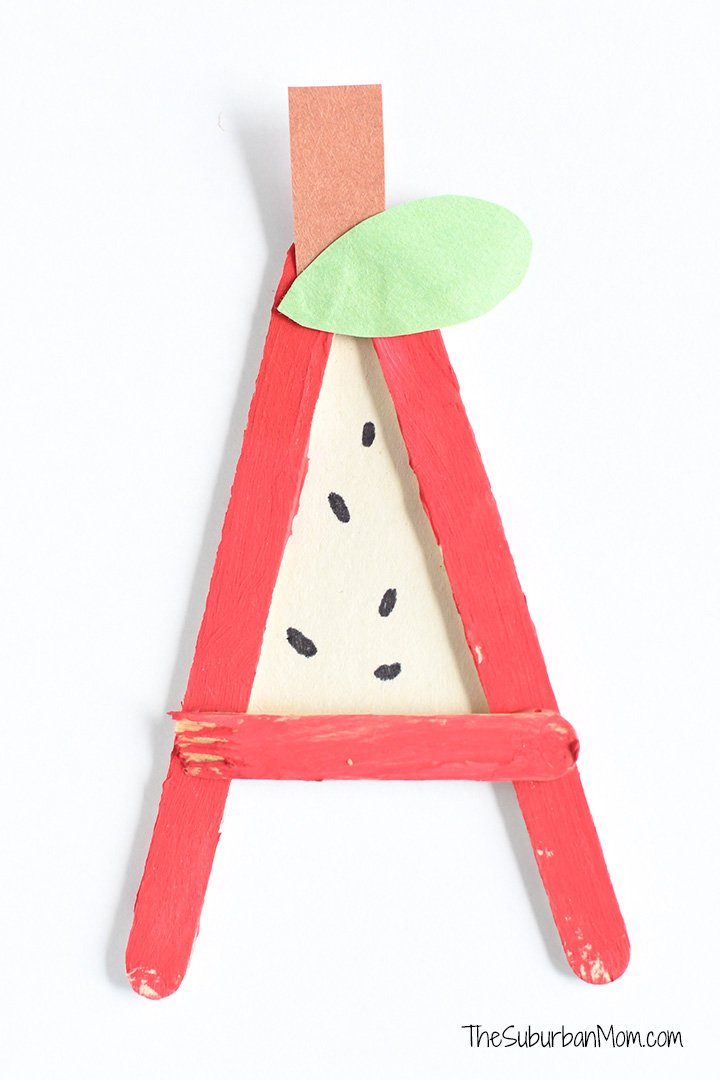 A is for Apple Popsicle Stick Craft