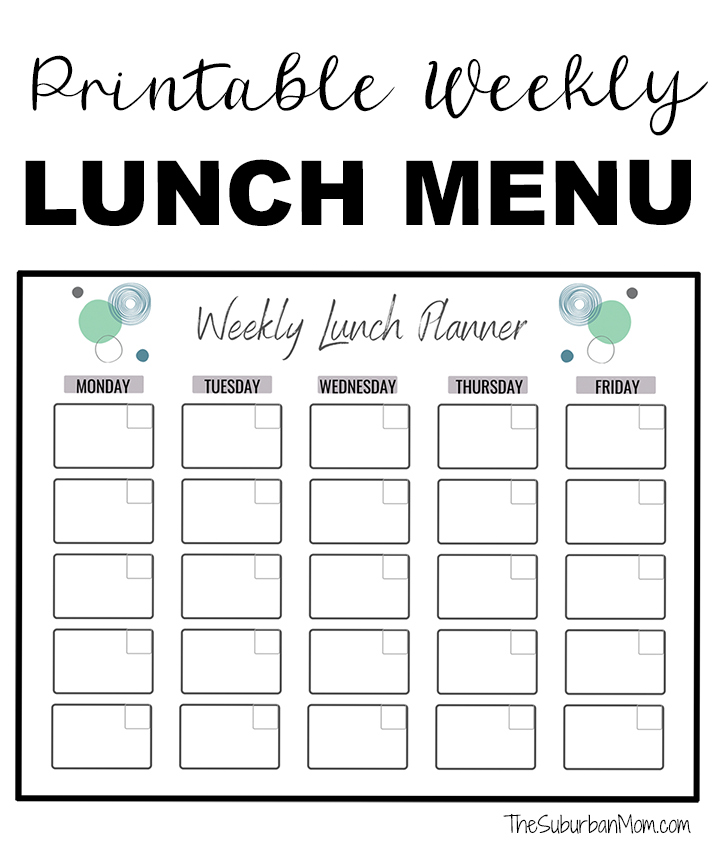 Printable Weekly Lunch Menu